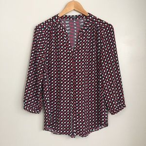 NYDJ Navy & Red Tunic Top Size XS